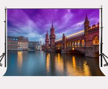 150x210cm Early Morning City View Backdrop Modern Bridge Background Ultra Violet Color Sky