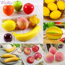 FENGRISE Plastic Fruit Fake Apple Lemon Peach Orange Pear Mini Artificial For Home Photography Props