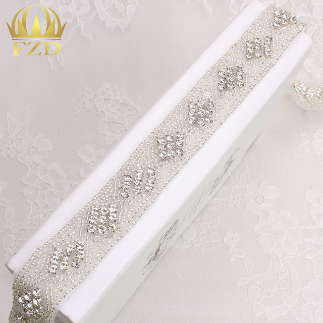 (10yards) Wholesale 1 Yard Sewing On Beaded Hot Fix Bling Applique Wedding  Dresses Rhinestone 05d89760544b