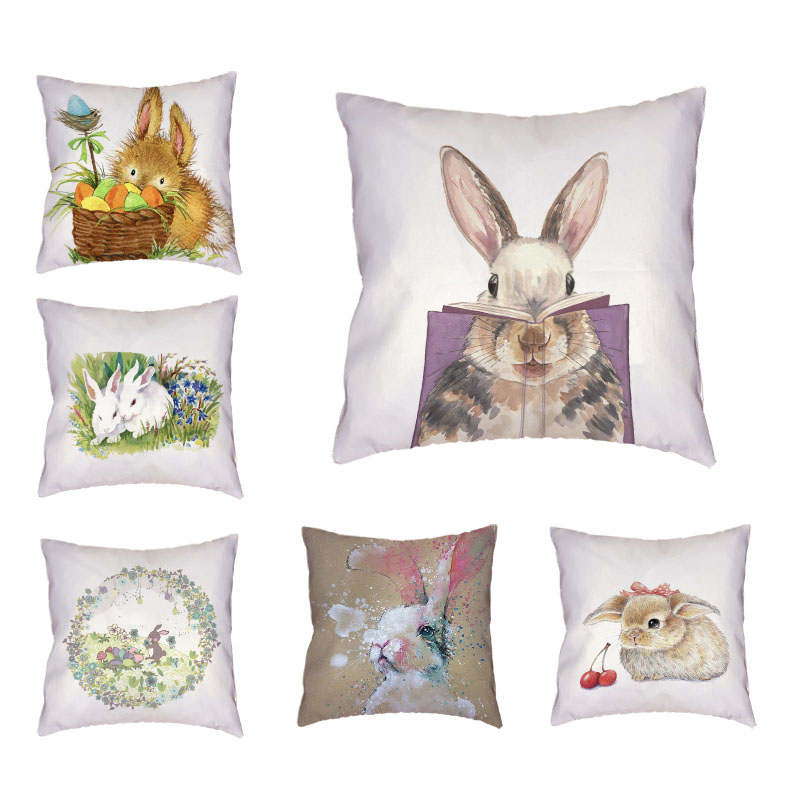 Throw Pillow Case Cuteness Rabbit and Egg Cushion Cover 45*45Cm Square Home Car Seat Office Couch Decorative Almofadas Cojines