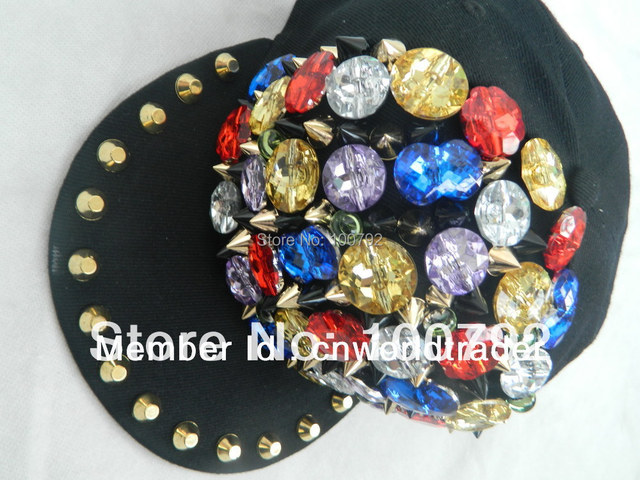 Free Shipping unisex faux jewels punk rock Snapback cap hiphop street dancing hat handmade rhinestone stud flat brim cap