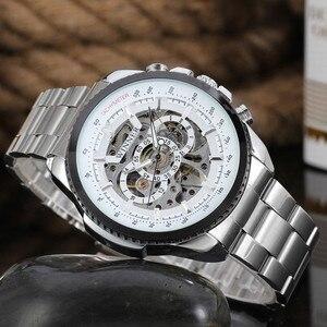 Image 2 - 2018 זוכה אופנה עיצוב שחור מכאני פלדת שעון אוטומטי שעונים גברים שחור נירוסטה עסקי רצועת Relogio זכר 428