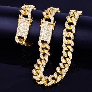 """Image 5 - סגסוגת קריסטל כבד מיאמי קובני שרשרת עם צמיד & שרשרת סט זהב צבע 20mm גדול קולר גברים של ירך הופ תכשיטי 16 """"18"""""""