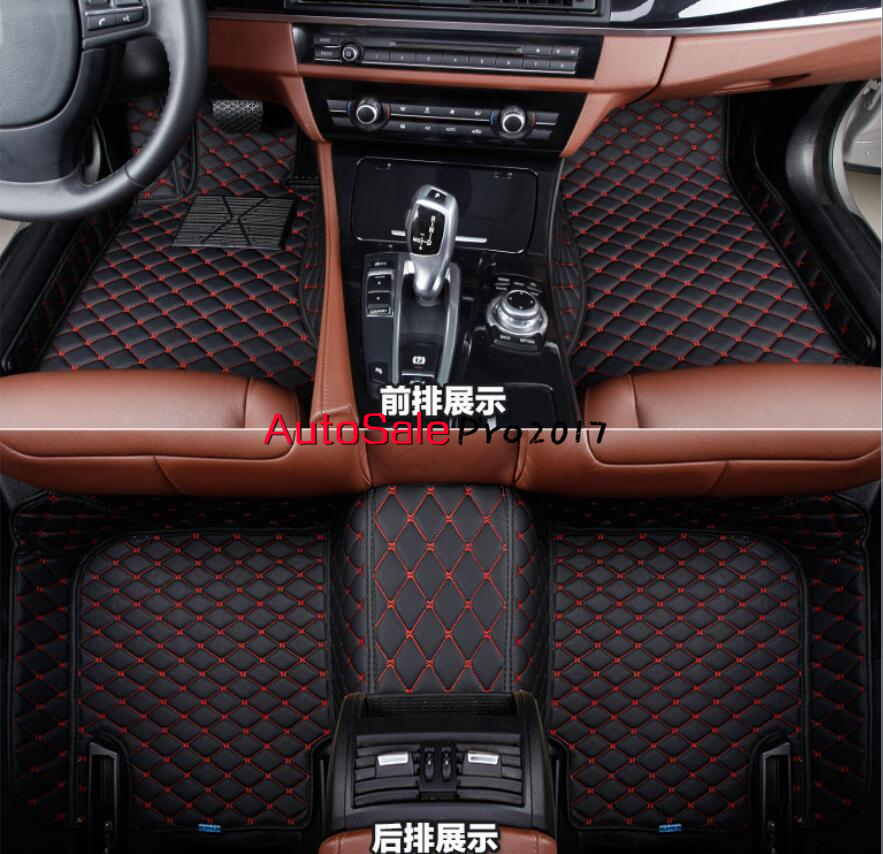 For Honda Fit Jazz hatchback 2009 2010 2011 2012 2013 Left Hand Drive! Black red grid Front Rear Floor Mat Carpets Pad Cover trunk shade security black rear cargo cover shield for subaru forester 2009 2010 2011 2012