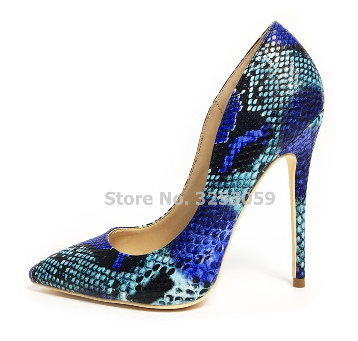 be2a05c99e9 US $53.57 6% OFF|ALMUDENA Hot Selling Blue Red Grey Snakeskin Pattern  Printed Pumps Pointed Toe Stiletto Heels Nightclub Dress Shoes 12cm  Python-in ...