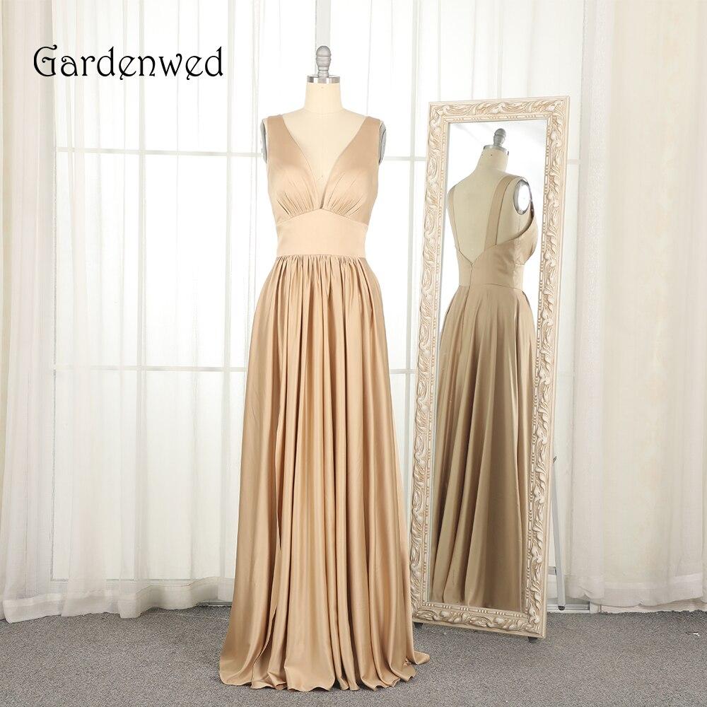 Garden Sexy robe de soirée Champagne 2019 de gala élastique extensible une ligne Simple vêtement pour femme abiye robe formelle abendkleider