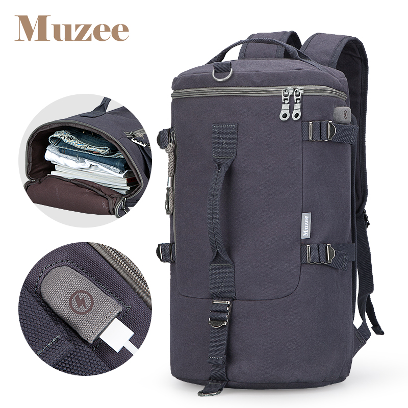 Muzee High Capacity Backpack Travel Bag Men Luggage Shoulder Bag Canvas Bucket Male Backpack Mochila Masculina Men