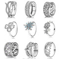 Anéis de natal coleção 925 esterlina anéis de prata para as mulheres flores e corações de amor Anel anillos belas Memnon jóias conjunto