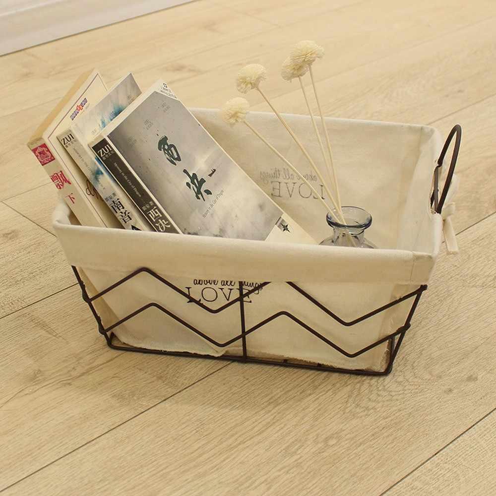 الاسكندنافية الرجعية المطاوع الحديد قماش سلة التخزين سطح المكتب كتاب أشتات التشطيب سلة المطبخ التوابل الجرار المنظم