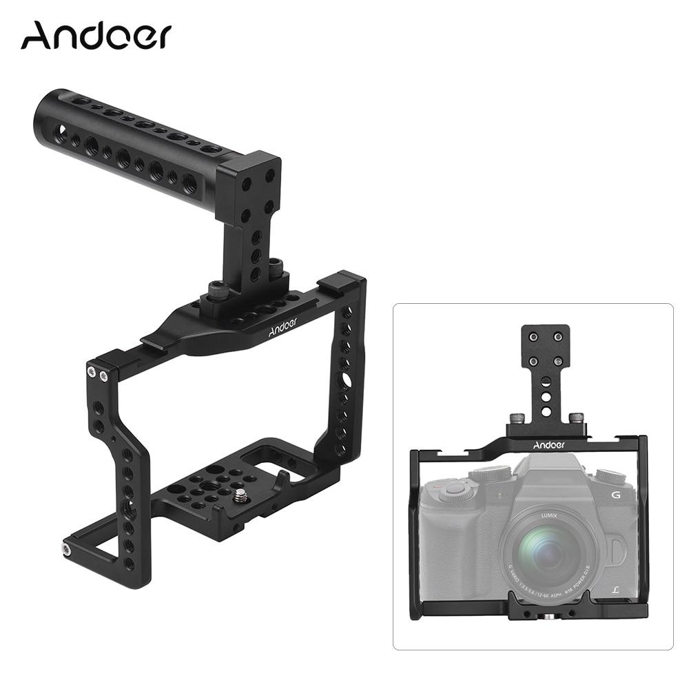 """Andoer G85 Cage de caméra en alliage d'aluminium avec beaucoup de 1/4 """"et 3/8"""" trou de montage 2 prise de chaussure froide pour caméra G85/G80 ILDC-in Accessoires pour studio photo from Electronique    1"""
