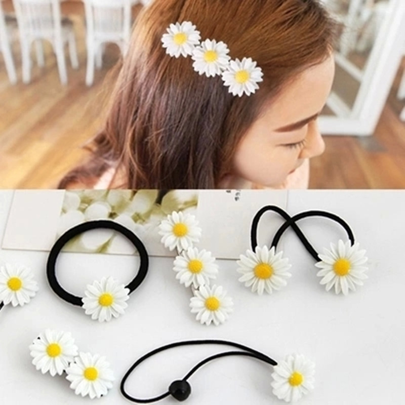 2017 Daisy Flower Headband Girls Hair Clips Girls Hair Accessories Resin Elastic Hair Bands for Women Hairpins Barrette 6pcs 1pc luxury women girls crystal hair clips opal leaf resin flower hairpins headwear jewelry elegant barrettes hair accessories