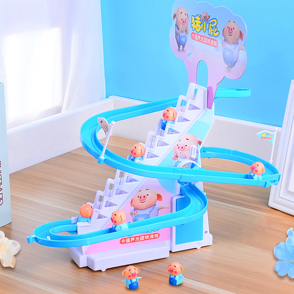 DIY Pig Climbing Stair Rail Toys Track Play Set Electric Music Climbing Bend Race Track Electronic Pig ToysDIY Pig Climbing Stair Rail Toys Track Play Set Electric Music Climbing Bend Race Track Electronic Pig Toys