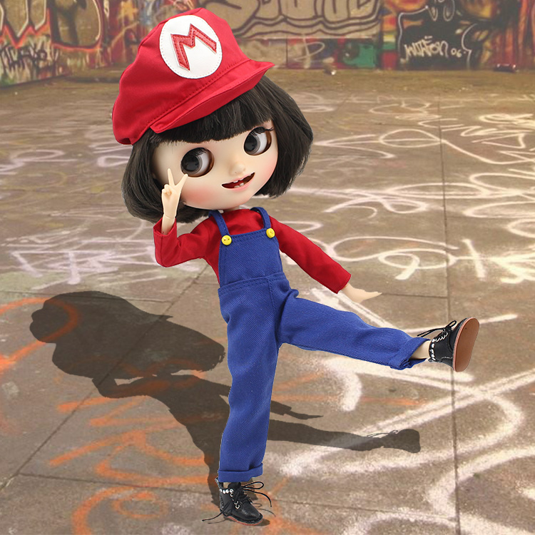 Free shipping super mario suit red M hat blue umpsuits red shirt for blyth doll icy licca cute cos cosplay 1/6 30cm gift toy cosplay red