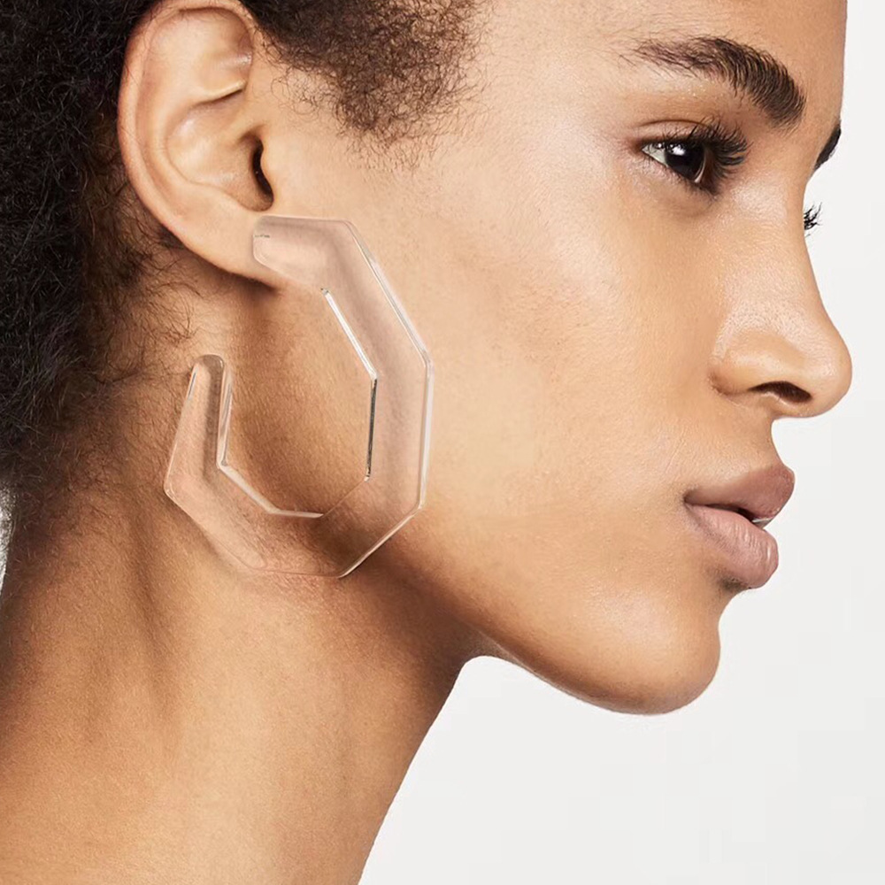 New Simple Transparent Geometric Acrylic Statement Stud Earring for Women C Shaped Multicolor Earring ZA Brinco Gift Accessories