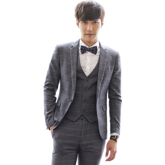 2016 новое поступление костюмы куртка тонкий смокинг v-образным вырезом мода бизнес плед свадебные костюмы пиджак S-2XL 155