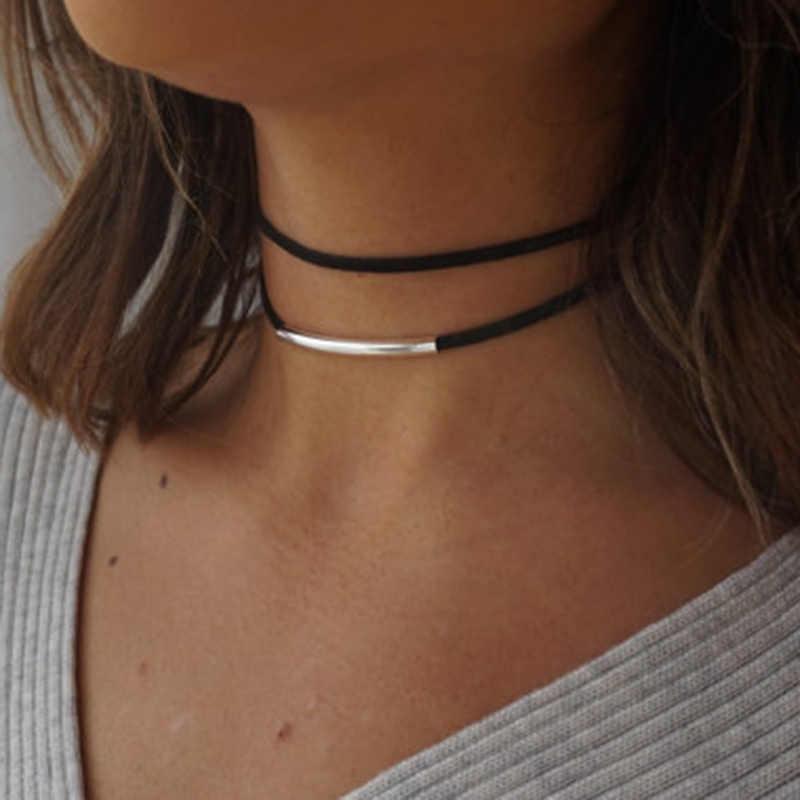 Simples geométrica dupla camadas gargantilhas colares punk oco couro preto camurça colar chocker collier femme