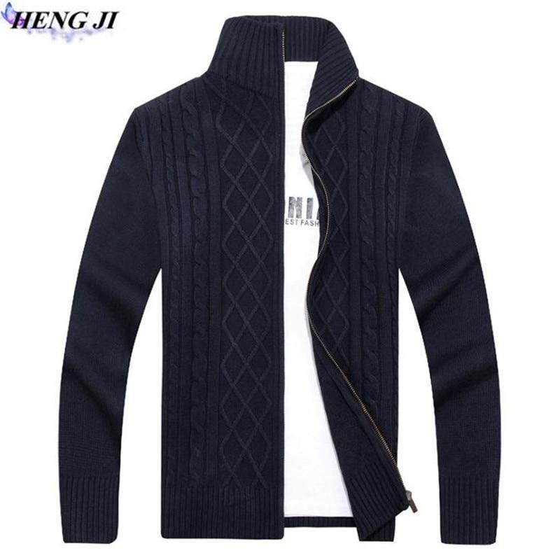 HENG JI 2017 Korean edition new winter mens knitwear cardigan, casual collar knit sweater, hemp decorative high quality sweater