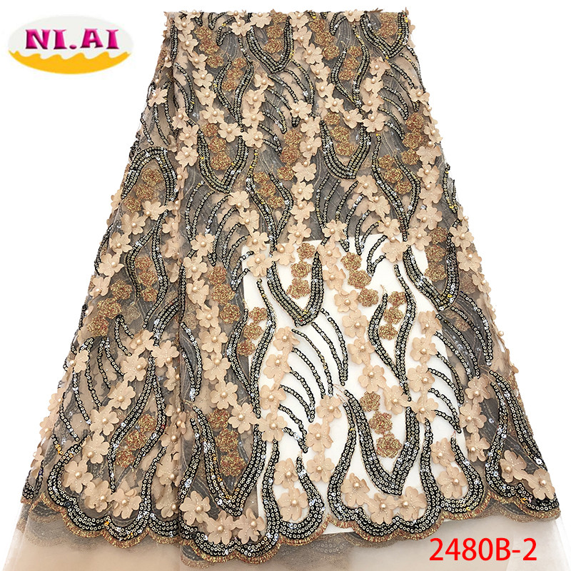 Nigerian Beaded Lace Fabric 2019 High Quality African 3D Net Lace Fabric Wedding French Tulle Lace