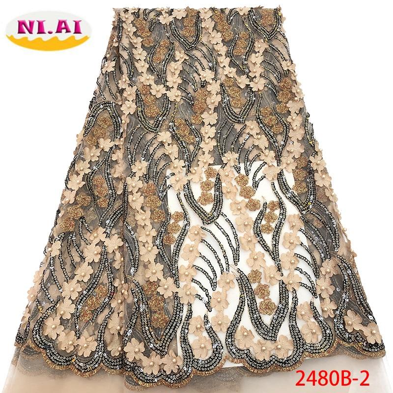 Nigérian perlé dentelle tissu 2019 haute qualité africaine 3D Net dentelle tissu mariage français Tulle dentelle matériel pour robe XY2480B 2-in Dentelle from Maison & Animalerie    1