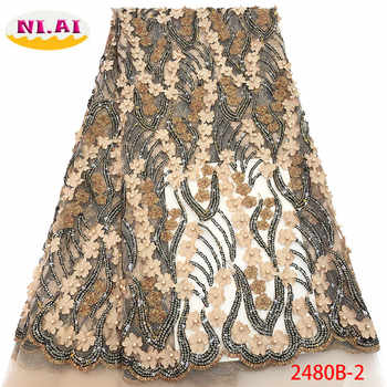 Nigerian Beaded Lace Fabric 2019 High Quality African 3D Net Lace Fabric Wedding French Tulle Lace Material For Dress XY2480B-2 - DISCOUNT ITEM  37% OFF All Category