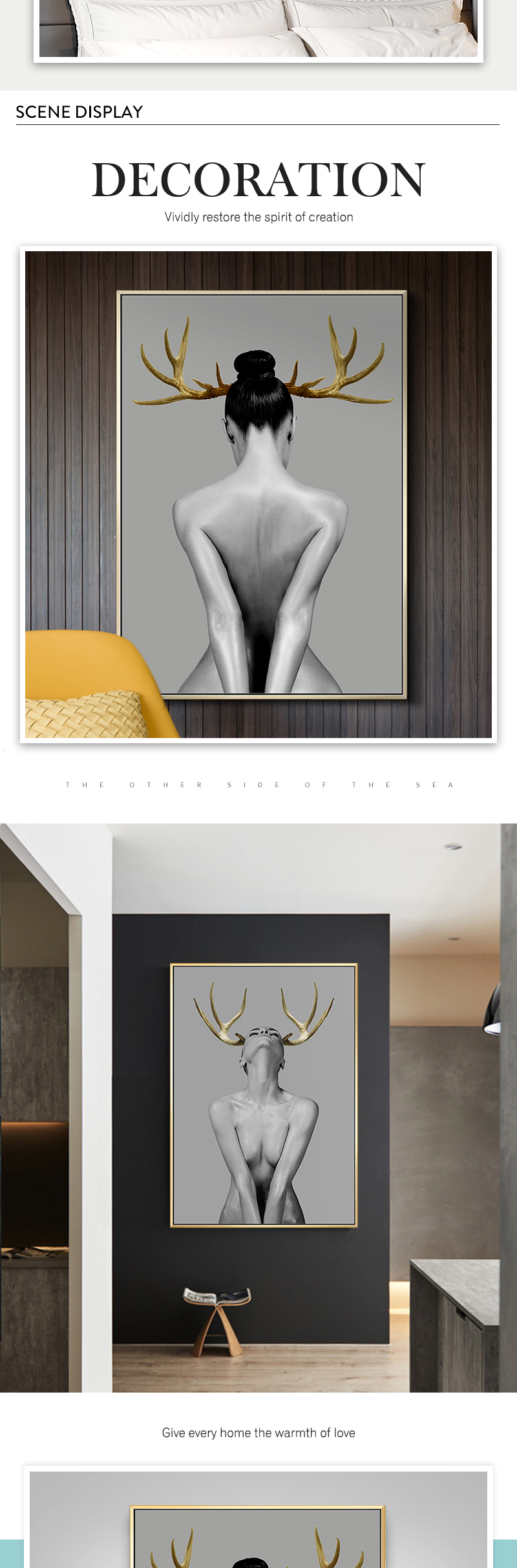 HTB1S.Z8PrrpK1RjSZTEq6AWAVXab Nordic Antlers girls Figuars wall art Canvas Painting Prints Posters Black White Nude art Pictures for Living Room Morden Decor