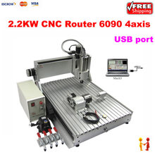 USB PORT lathe 6090 2.2kw Water Cooling Spindle Mini Advertising 4 axis CNC Router, cnc milling machine 6090 with limit switch