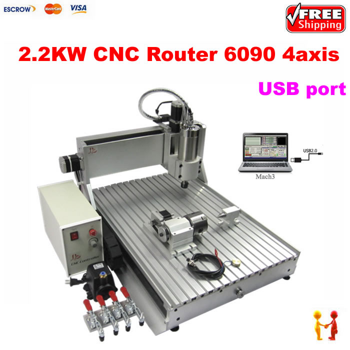 USB PORT lathe 6090 2.2kw Water Cooling Spindle Mini Advertising 4 axis CNC Router with limit switch mini cnc router rtm 6090 with t slot vacuum table