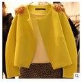 Mulheres Casacos e Jaquetas de marca Sólida 2015 das Mulheres Slim-manga Longa Cardigan Casaco Jaqueta Feminina