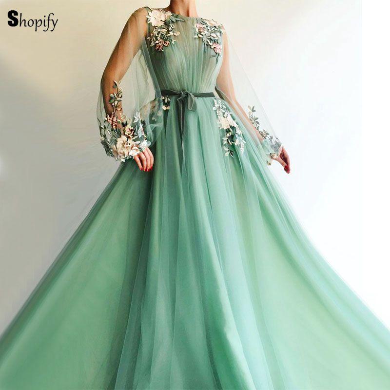 Long Evening Dress 2018 Gorgeous Long Sleeve See Through -2963