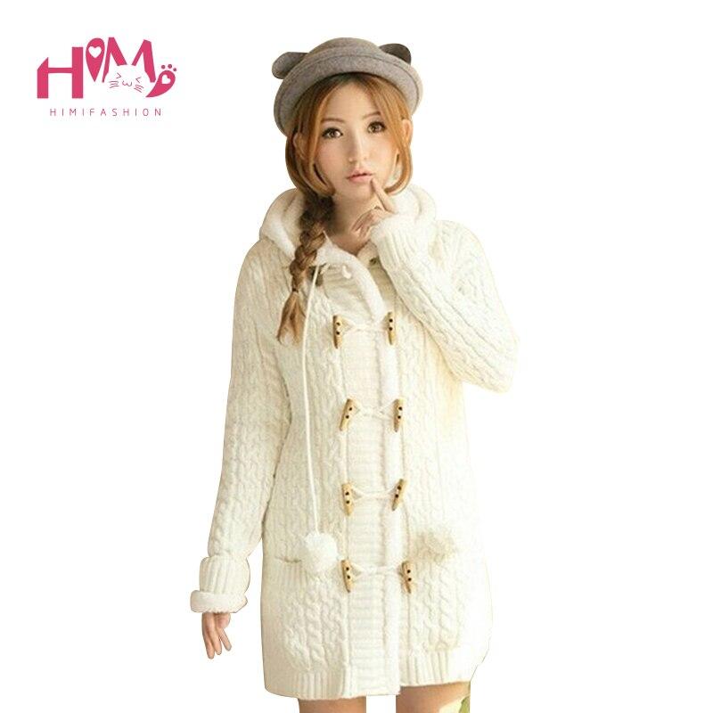Hiver couleur bonbon épais laine chandails pour fille Cardigan à capuche femmes chandails cachemire tricoté manteau grande taille femme pardessus