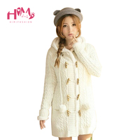Winter Candy Color Thick Wool Sweaters For Girl Hooded Cardigan Women Sweaters Cashmere Knitted Coat Plus