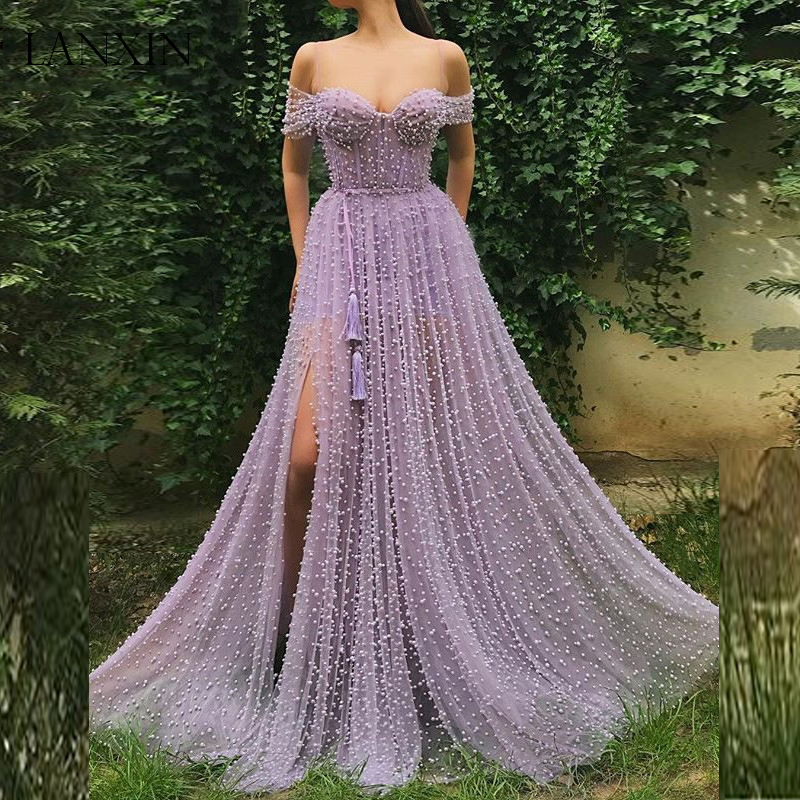 Hot Promo Lilac Long Prom Dresses Robe De Soiree Sweetheart Full Pearls Sexy High Slit Floor Length Tulle Formal Evening Dress Party Gown November 2020