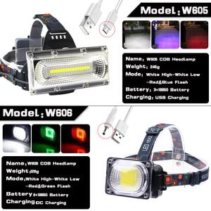 Image 2 - סופר מואר COB LED פנס תיקון אור ראש מנורת USB נטענת עמיד למים פנס 18650 סוללה דיג תאורה