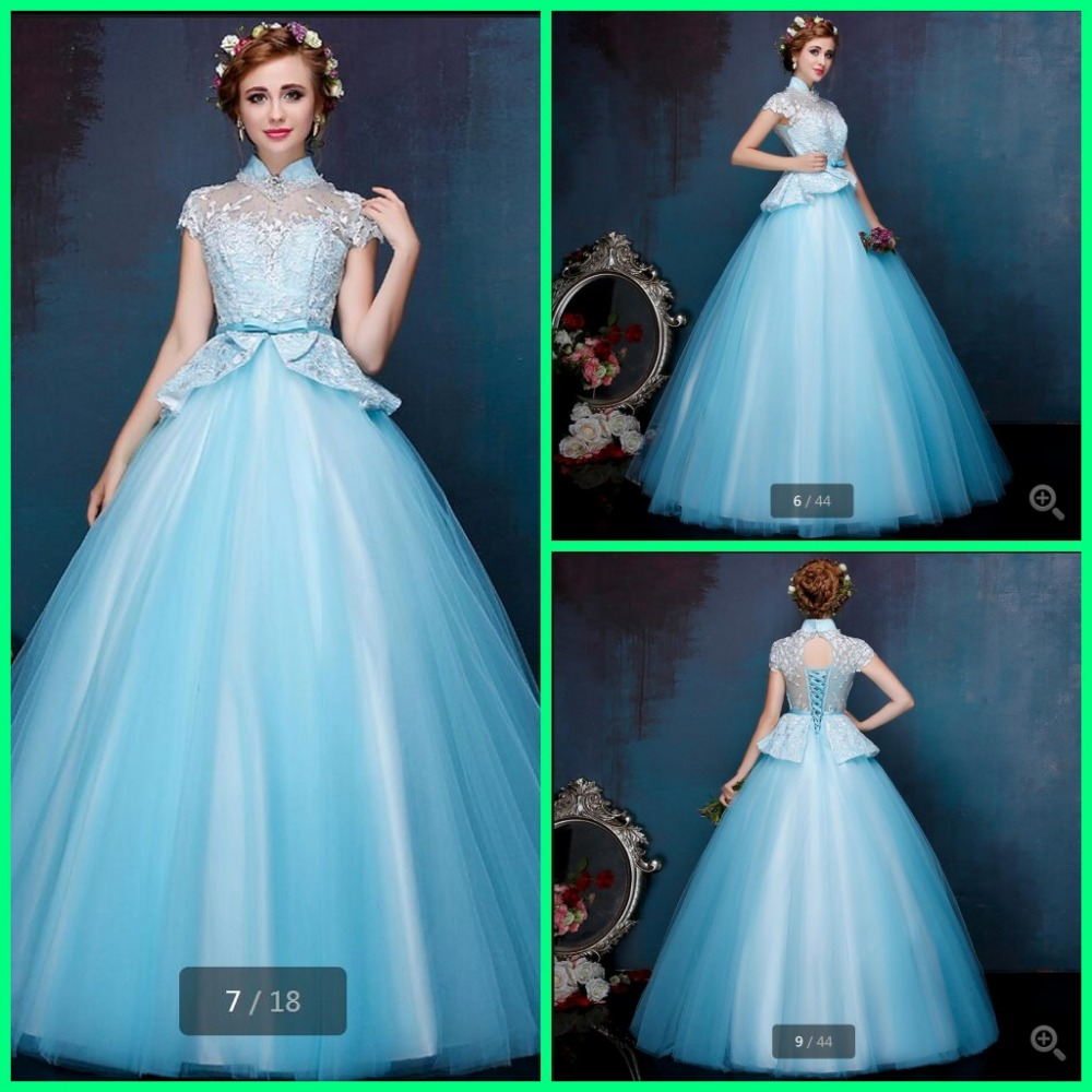 new designer ball gown light blue high neck modest wedding dresses sheer back sexy beading appliques