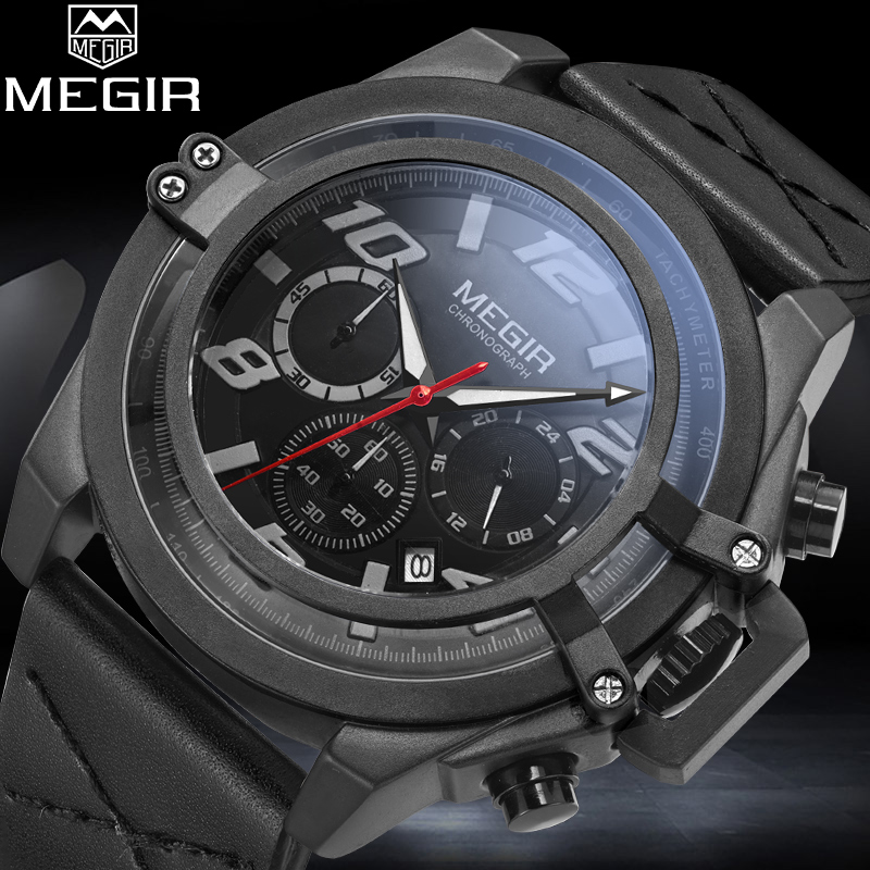 2018 MEGIR Brand Men Quartz Watches Man Military Sport Watch Mens Fashion Chronograph Analog Waterproof Clock Relogio Masculino megir men s fashion casual chronograph sport watches men waterproof leather quartz watch man military clock relogio masculino