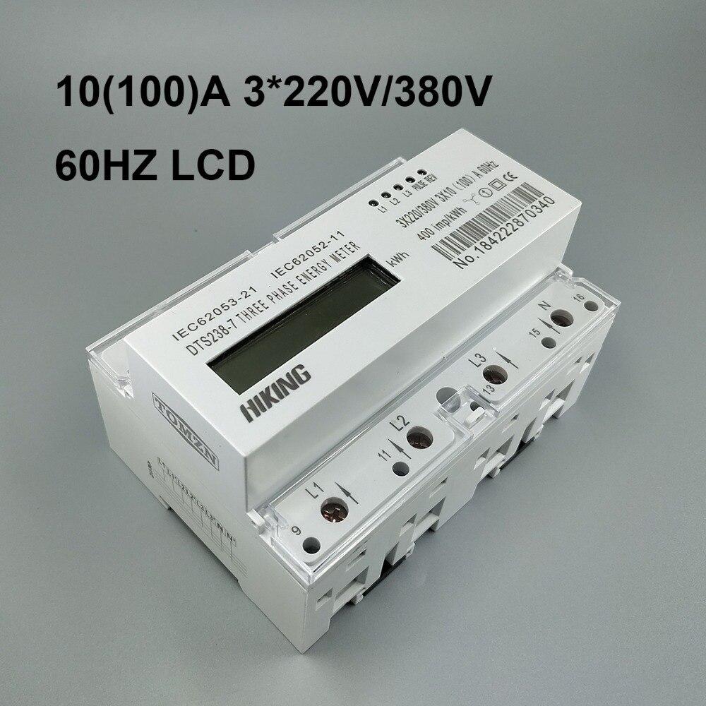 10 (100) UN 3*220 v/380 v 60 hz trifase guida Din KWH Watt ora din-rail contatore di energia LCD