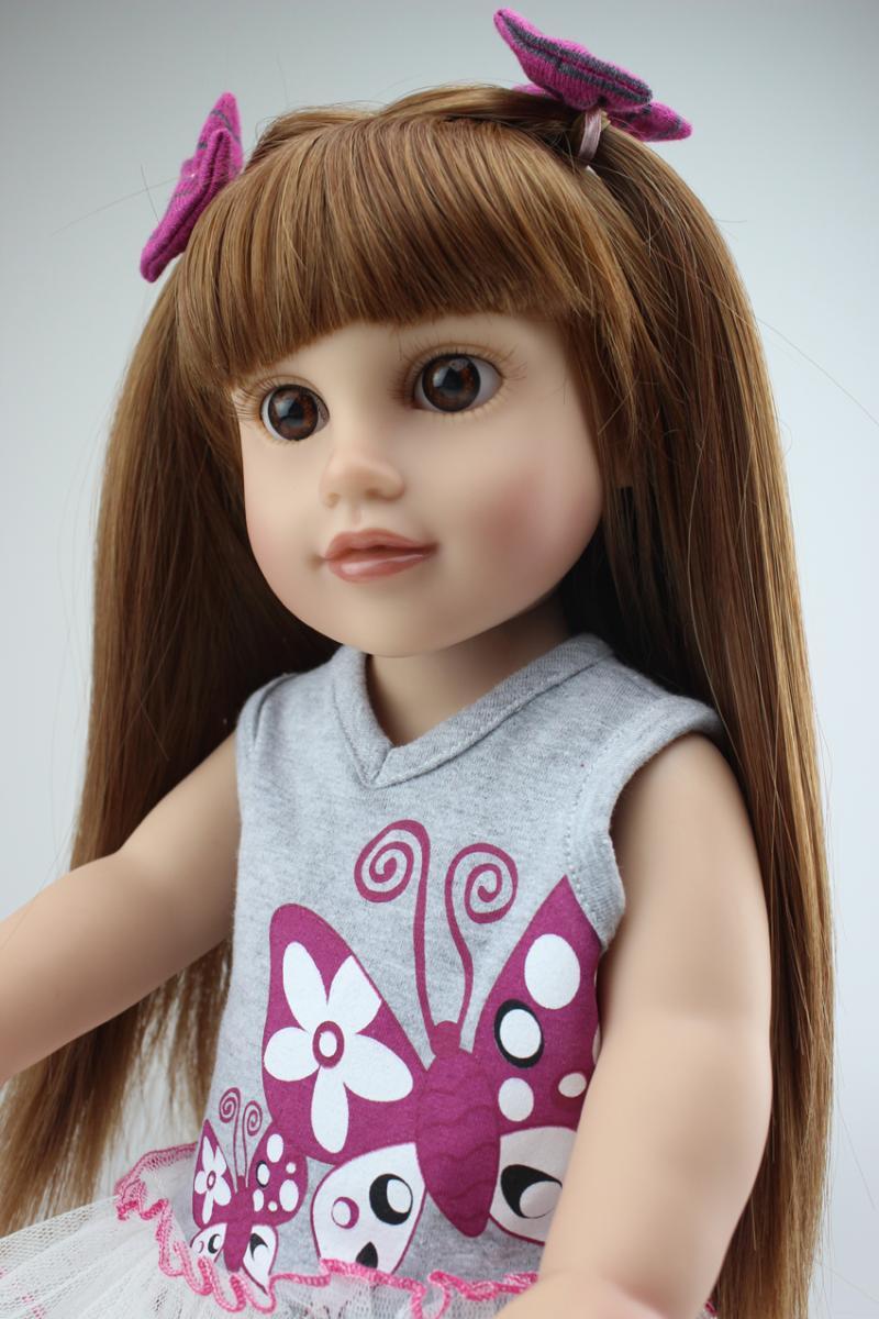 ФОТО Brown long straight hair GIRL Dolls 18'' FOR AMERICAN PRINCESS Reborn Baby dolls  vinyl  baby boneca toys girls gift