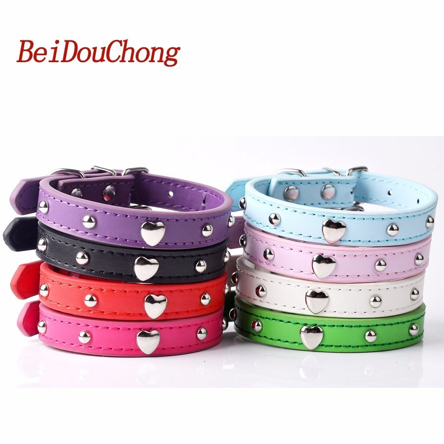 Wholesale Pu Leather Dog Collar With Mushroom Heart Studded Puppy Pet Neck Strap For Small Dogs Cats Size S M L
