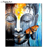 Professional Artist Supply Hand-painted Abstract Buddha With Butterfly Oil Painting For Wall Art Decoration Buddha Painting