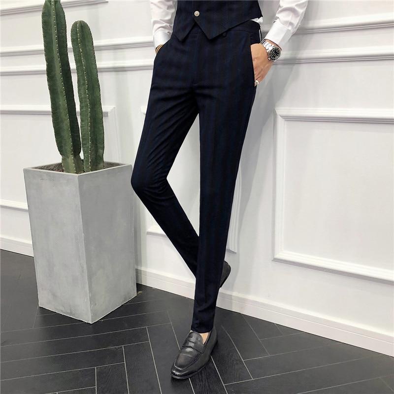 Vernuftig Tang 2019 Mannen Business Bruiloft Pak Broek Klassieke Heren Gestreepte Jurk Broek Zwart Grijs Slanke Elegante Mens Plaid Broek