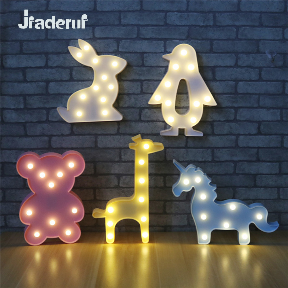 Jiaderui Novelty 3D Animal LED Baby Night Lights Table Lamps Cute Unicorn Bear Marquee Light for Kids Gifts Home Christmas Decor novelty smile face rainbow led night lights battery night lamps for baby room nursery living room decor kids christmas gifts