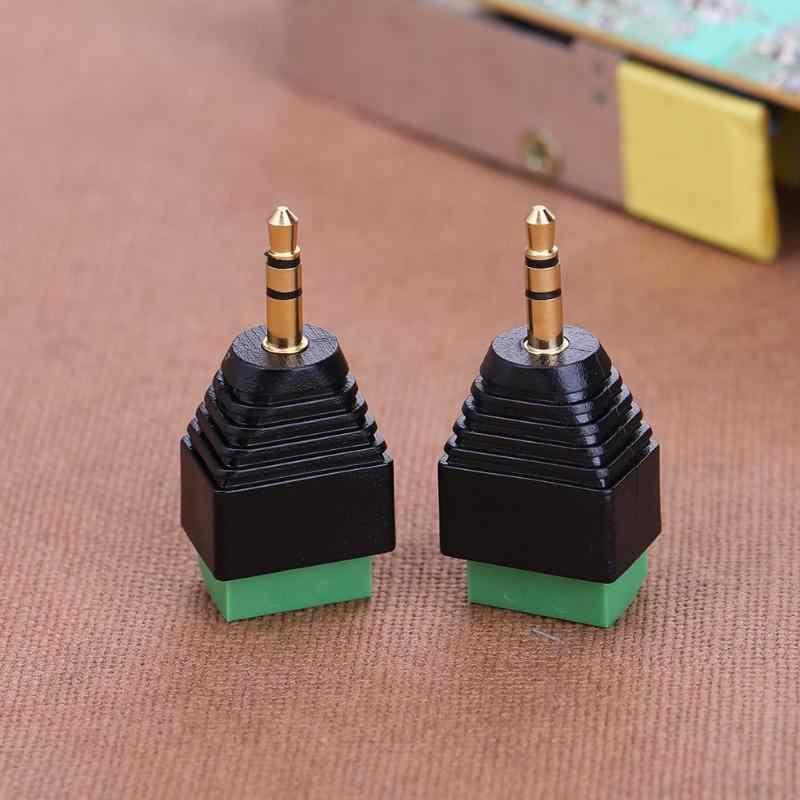 2 шт. 3.5 мм позолоченный клеммный блок адаптера Разъем преобразователя Male 3-х контактный двухканальный AV стерео аудио зеленый Текущий