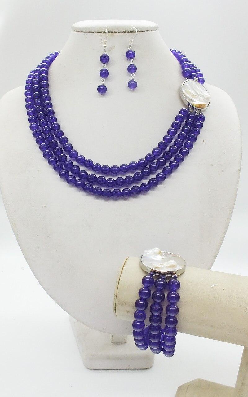 3 rows, 8MM super Pretty, purple, semi-precious stones, crystal, classic bridal wedding necklace bracelet earrings, jewelry set