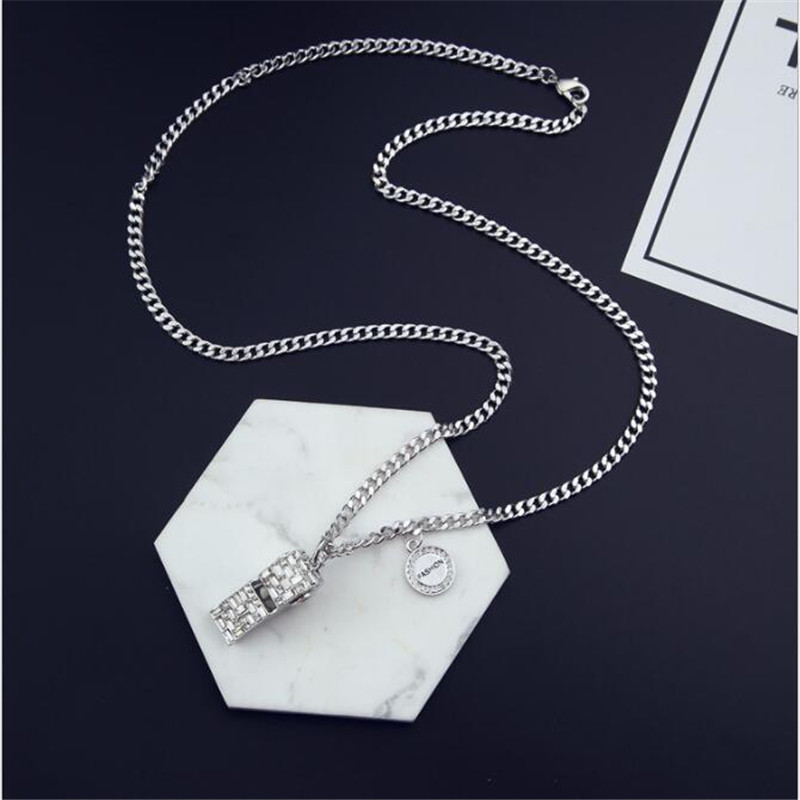 CX-Shirling Hip Hop Big Whistle Pendant & Necklace Vintage Silver Color Hiphop Chain For Men/Women Jewelry Gift