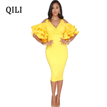 QILI Red Yellow Black Dress Women Cold Shoulder Ruffles Sleeve Sexy V-Neck Dresses New Summer Solid Knee-Length Bodycon