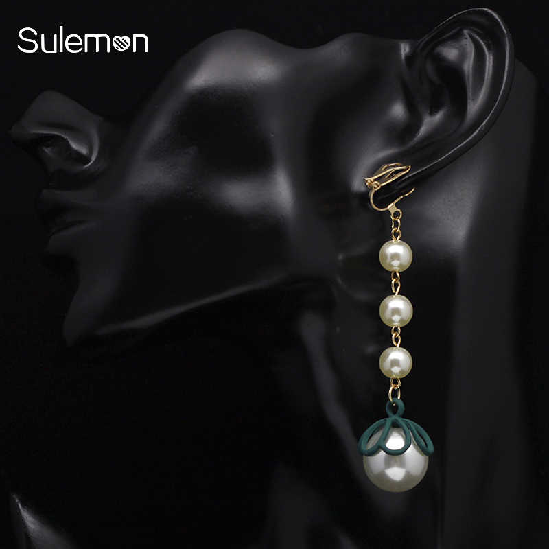Pearl Earrings No Hole Ear Clips Round Simulated-pearl Clip On Earring Without Piercing Minimalist Long Earrings CE371