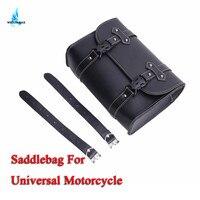 WISENGEAR Motorcycle Black PU Leather Saddlebag Motorcycle Tool Pouch Side Luggage Bags Saddle Bag For Harley Moto Universal Bag
