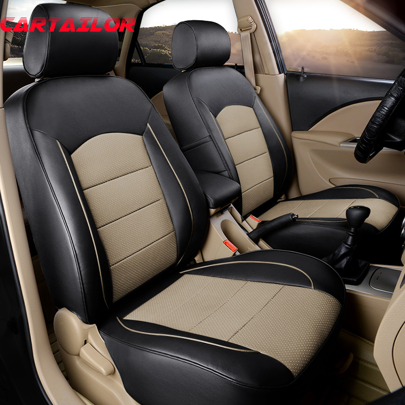 CARTAILOR Real Leather Car Seat Covers Styling for VOLVO S80 Seat Covers & Supports Auto Cover Seats Protector Cars Accessories