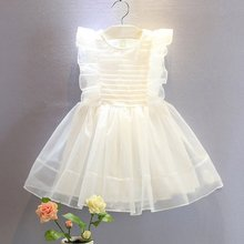 New Baby Girl Clothes White Girls Kid Mesh Toddler Baby Princess Party Bow Pageant Wedding Dress 2-6Y