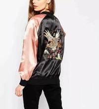 New arrival American casual style Eagle pattern embroidered veste femme manche longue bomber jacket women coat